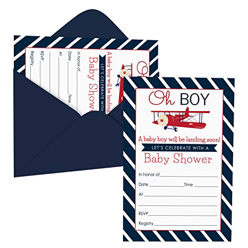 Airplane Baby Shower Invitations (15 Guests) Landing Soon Party Supplies