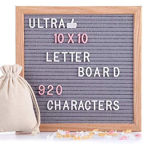 Felt Letter Board Gray 10x10 Inches with Stand