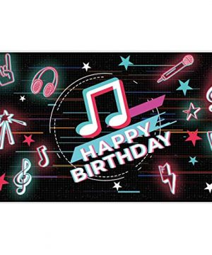 Allenjoy 5x3ft Happy Birthday Theme Musical Party Backdrop Supplies