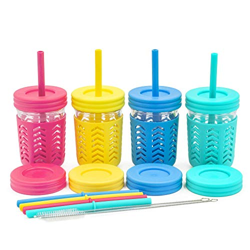 Kids Mason Jar Cups with Straw Spill Proof Cups For Kids