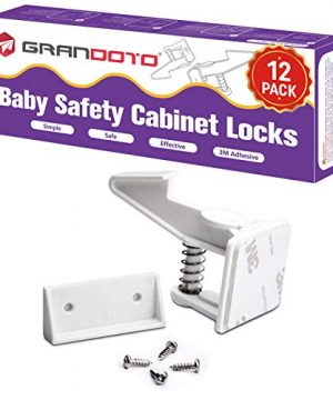 Baby Safety Cabinet Locks 12 Pack White-Grandoto Baby Proofing