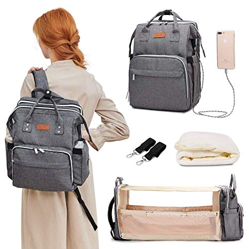 Diaper Bag Backpack, Travel Foldable Baby Bed