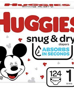 Huggies Snug, Dry Diapers, Size 1, 124 Ct