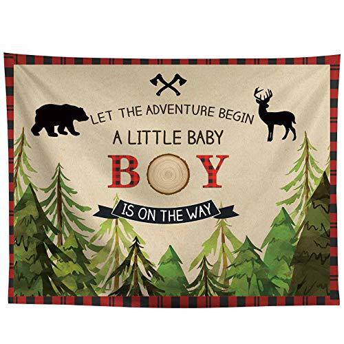 Allenjoy 10x8ft Lumberjack Backdrop a Little Baby Boy