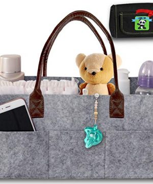 Baby Diaper Caddy Organizer – Nursery Basket with Convenient Leather