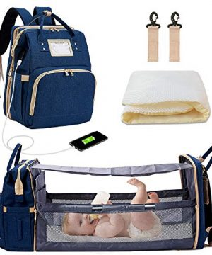Diaper Backpack with Changing Bed, 3 in 1 Travel Diaper Bag