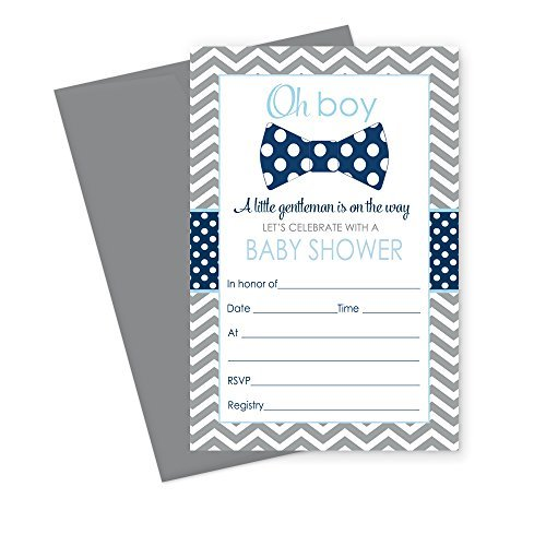 Bow Tie Baby Shower Invitations (15 Guests) Little Man Party Supplies