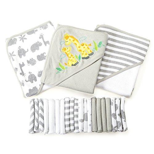 Spasilk Baby 23 Piece Bath Hooded Towels and Washcloths Set
