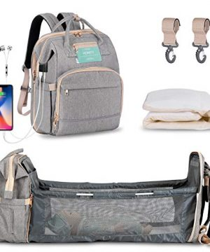 Diaper Bag Backpack with Extendable Folding Crib