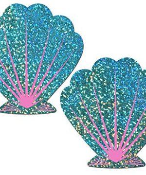 Nipple Pasties Mermaid Liquid Seafoam Green and Pink Seashell