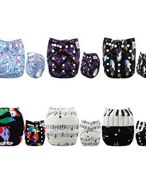ALVABABY Baby Cloth Diapers 6 Pack with 12 Inserts