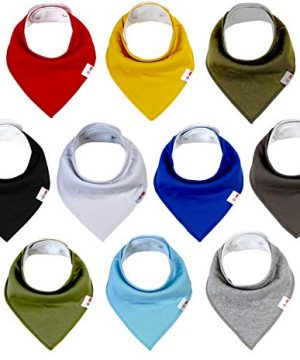 Baby Bandana Drool Bibs, 10 Pack for Girls and Boys