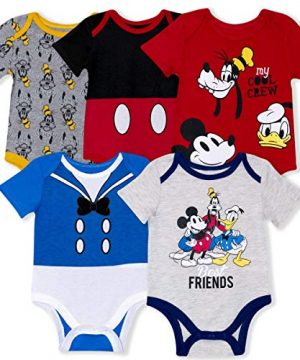 Disney 5-Pack Baby Boy Onesies with Mickey, Donald