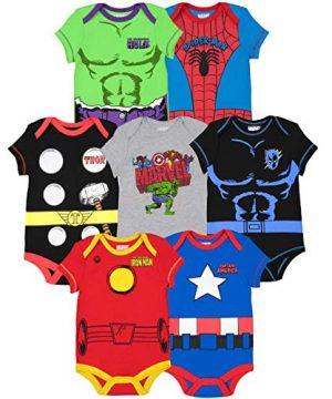 Marvel Avengers Black Baby Boys 7 Pack Bodysuit 6-9 Months