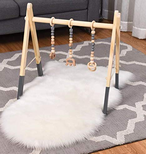 BABY JOY Portable Wooden Baby Gym