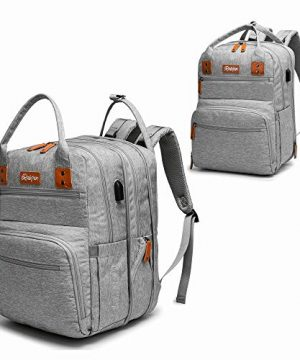 Diaper Bag Backpack with Expandable Layer, Detachable Insulated Pocket