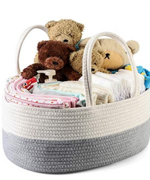 Arkmiido Baby Diaper Caddy Organizer, Rope Nursery Storage Bin