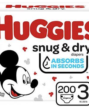 Huggies Snug, Dry Baby Diapers, Size 3, 200 Ct