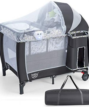 BABY JOY 3 in 1 Portable Baby Playard, Pack and Play with Bassinet