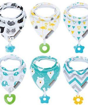 Baby Bandana Drool Bibs 6-Pack and Teething Toys