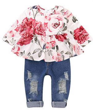 CARETOO Girls Clothes Outfits, Cute Baby Girl Floral Long Sleeve