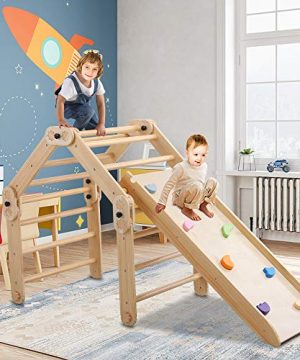 6M - 3Y+ Years Old Wooden Climbing Triangle Ladder with Ramp