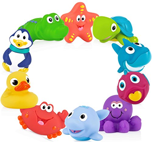 Nuby 10 Count (Pack of 1) Little Squirts Fun Bath Toys