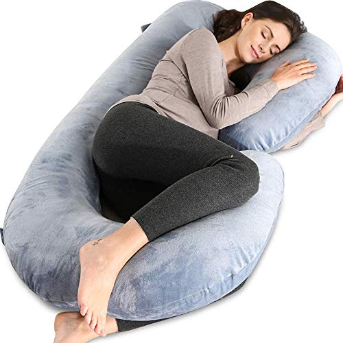 Pregnancy Pillow with Grey Jersey Cover