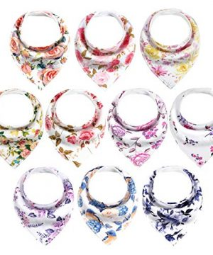 Baby Bandana Drool Bibs Soft and Absorbent with Flower Pattern