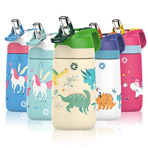 Kids Water Bottle with Straw Lid and Protective Cover