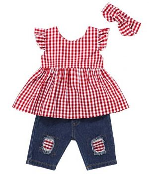 Baby Girls Clothes Red Ruffle Short Sleeve+Baby Girl