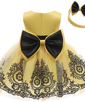 AVAZU 0-6T Easter Big Bowknot Pageant Lace Embroidery Dress