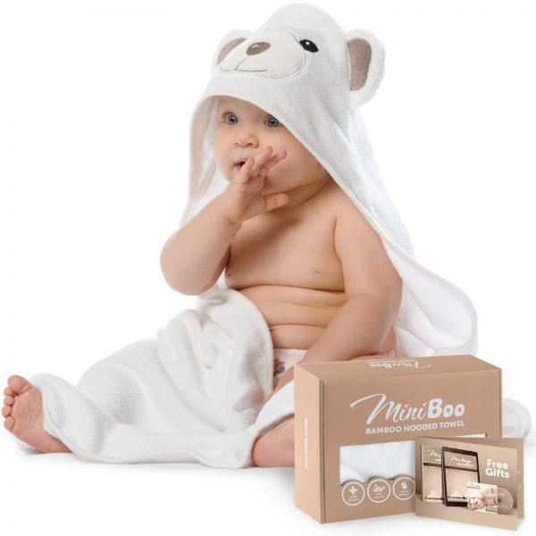 Premium Ultra Soft Organic Bamboo Baby Hooded Towel