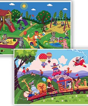 Animals-at-Play Disposable Toddler Placemat Pack
