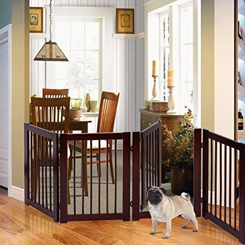 PETSJOY Freestanding Wooden Pet Gate Baby Safety Gate