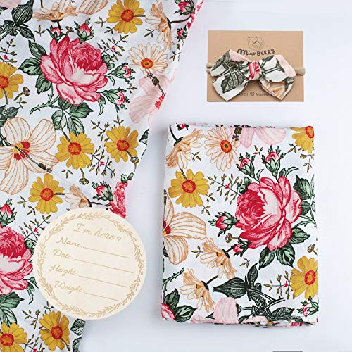 Bamboo Cotton Muslin Floral Swaddle Blankets Girl with Headband