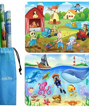 2-Pack Farm, Sealife Silicone Placemats for Toddlers Non Slip