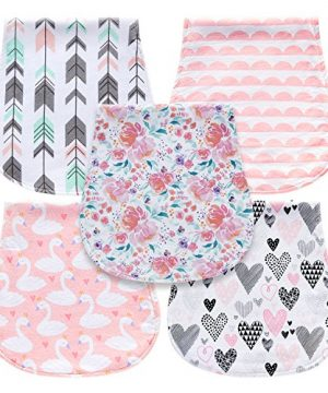 5-Pack Baby Burp Cloths for Girls, Triple Layer