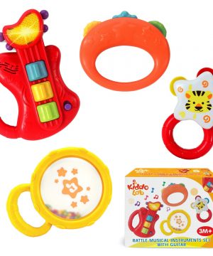 Kids Guitar Instruments Set with Electric Toy Guitar and Rattles