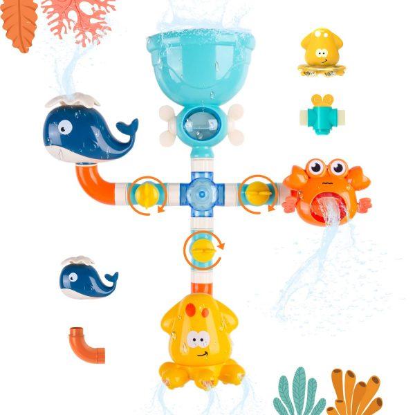 UCORN Baby Bath Toys - Cute Animal Toddlers Bath Pipes Toy Set