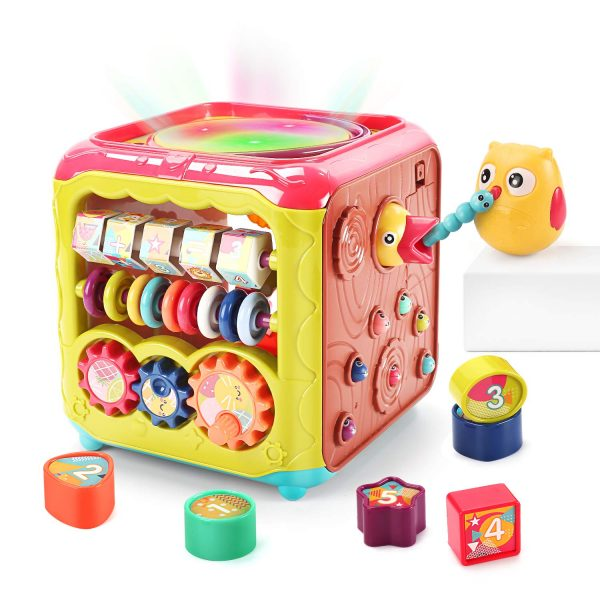 CUTE STONE Baby Activity Cube Toy,6 in 1 Multi-Functional